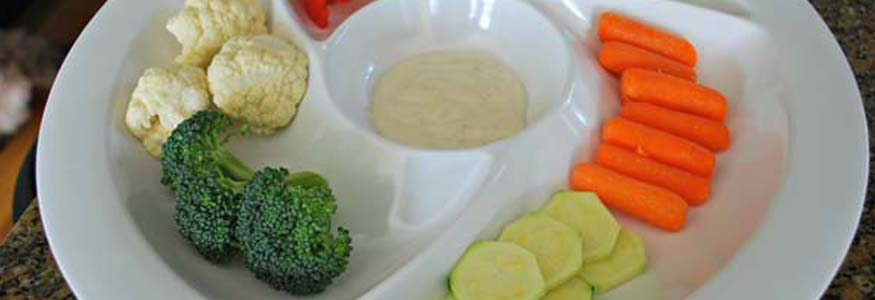 Veggie Taste Test in a Chip & Dip Tray