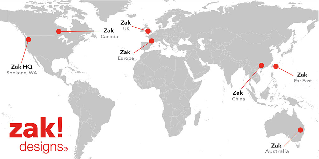 map of Zak International Offices
