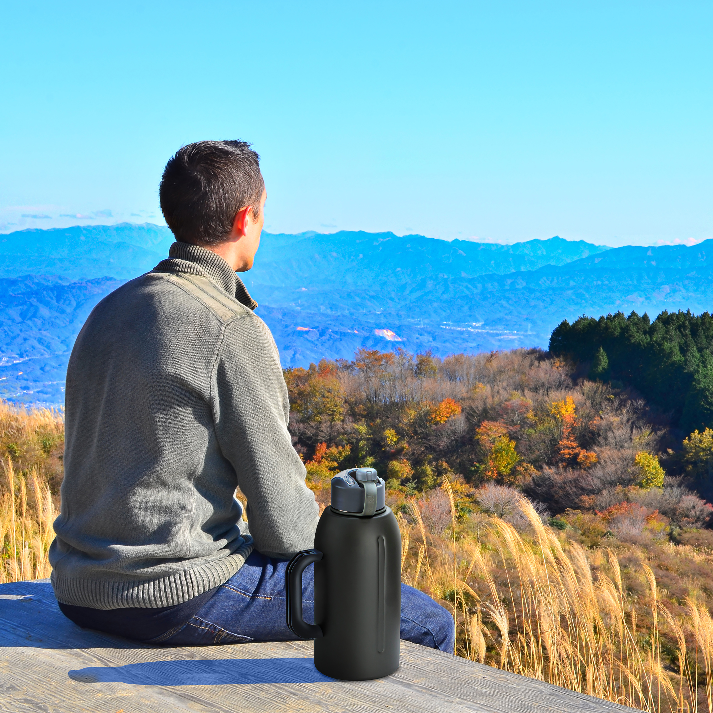 Genesis bottle with scenic view